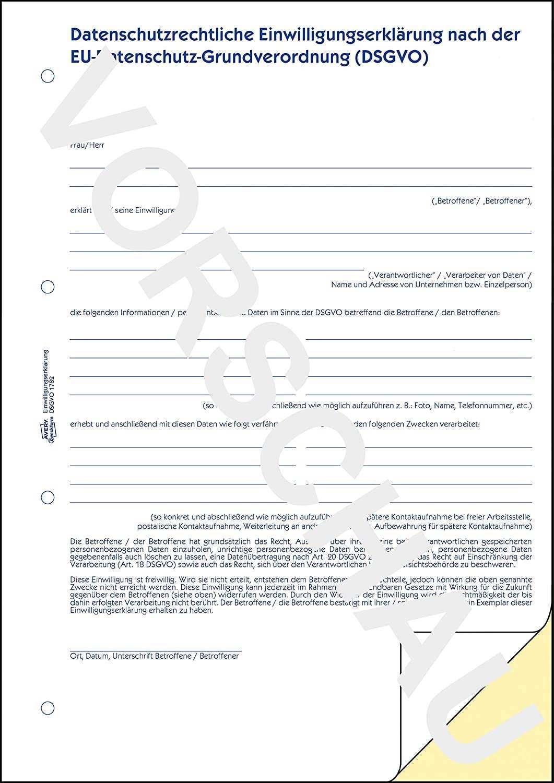 Avery Zweckform 1782 Datenschutzrechtliche Einwilligungserklarung Datenschutzformular Nach Dsgvo Din A4 Selbstdurchschreibend 2x40 Blatt Weiss Gelb Amazon De Burobedarf Schreibwaren