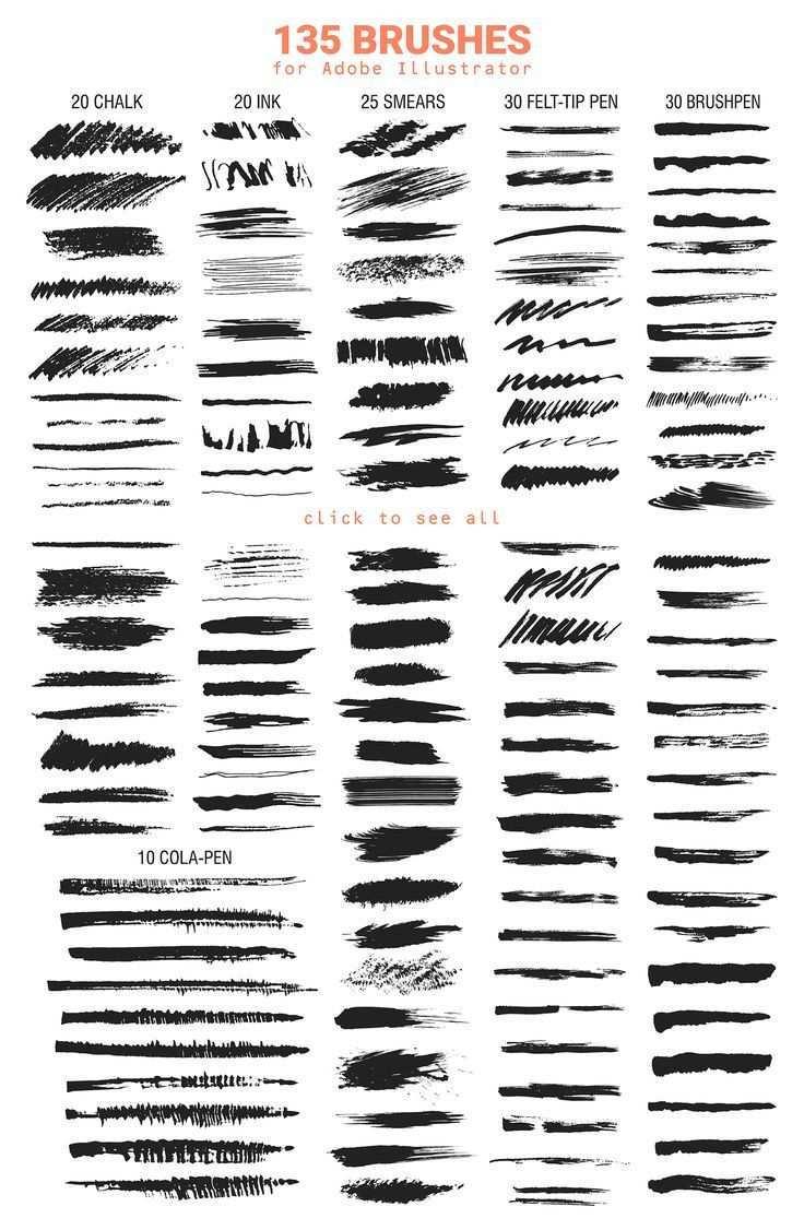 Illustrator Brushes Vector Brushes For Illustrator Creating Patterns Lettering Grunge Posters And Vector Brush Free Brush Illustrator Brushes