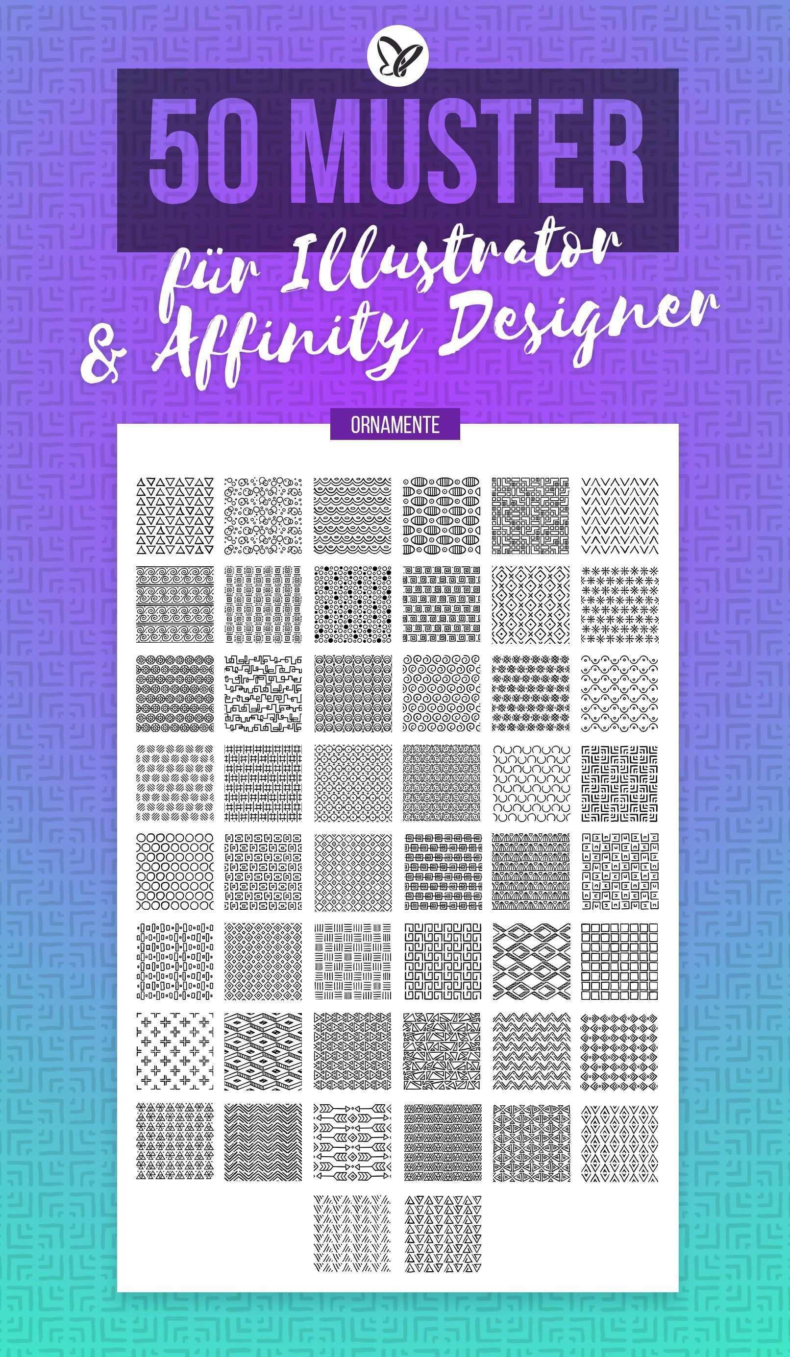 Ornamente Vektor Muster Fur Adobe Illustrator Und Affinity Designer In 2020 Vektor Muster Adobe Illustrator Ornamente