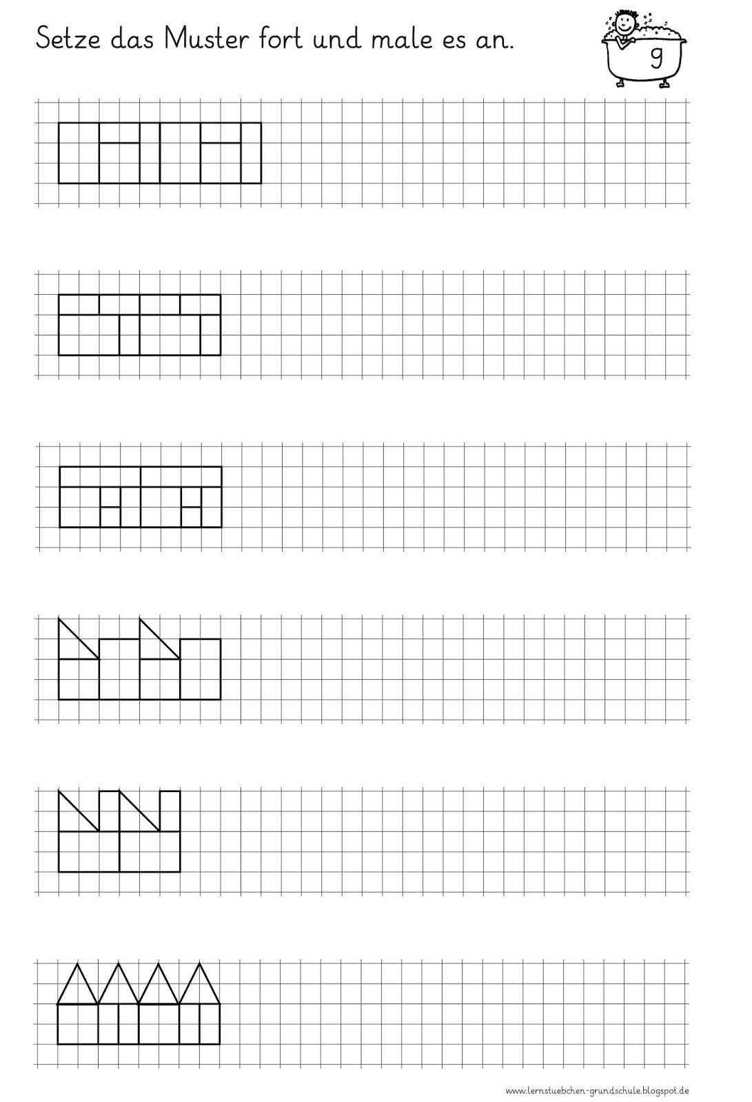 Ab Muster Fortsetzen Und Anmalen 5bis 8 1 Jpg 1042 1600 Lernen Konzentrationstraining Schule Arbeitsblatter