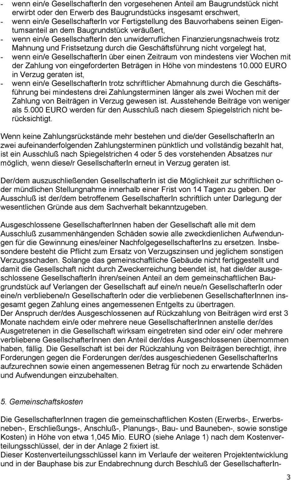 Gesellschaftsvertrag Der Grundstucksgemeinschaft Bauherren Gbr Pdf Free Download