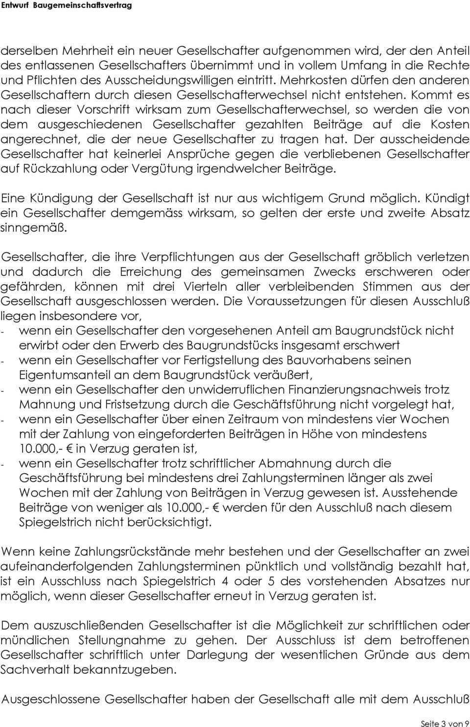 Gesellschaftsvertrag Der Baugemeinschaft Projekt Xyz Pdf Free Download