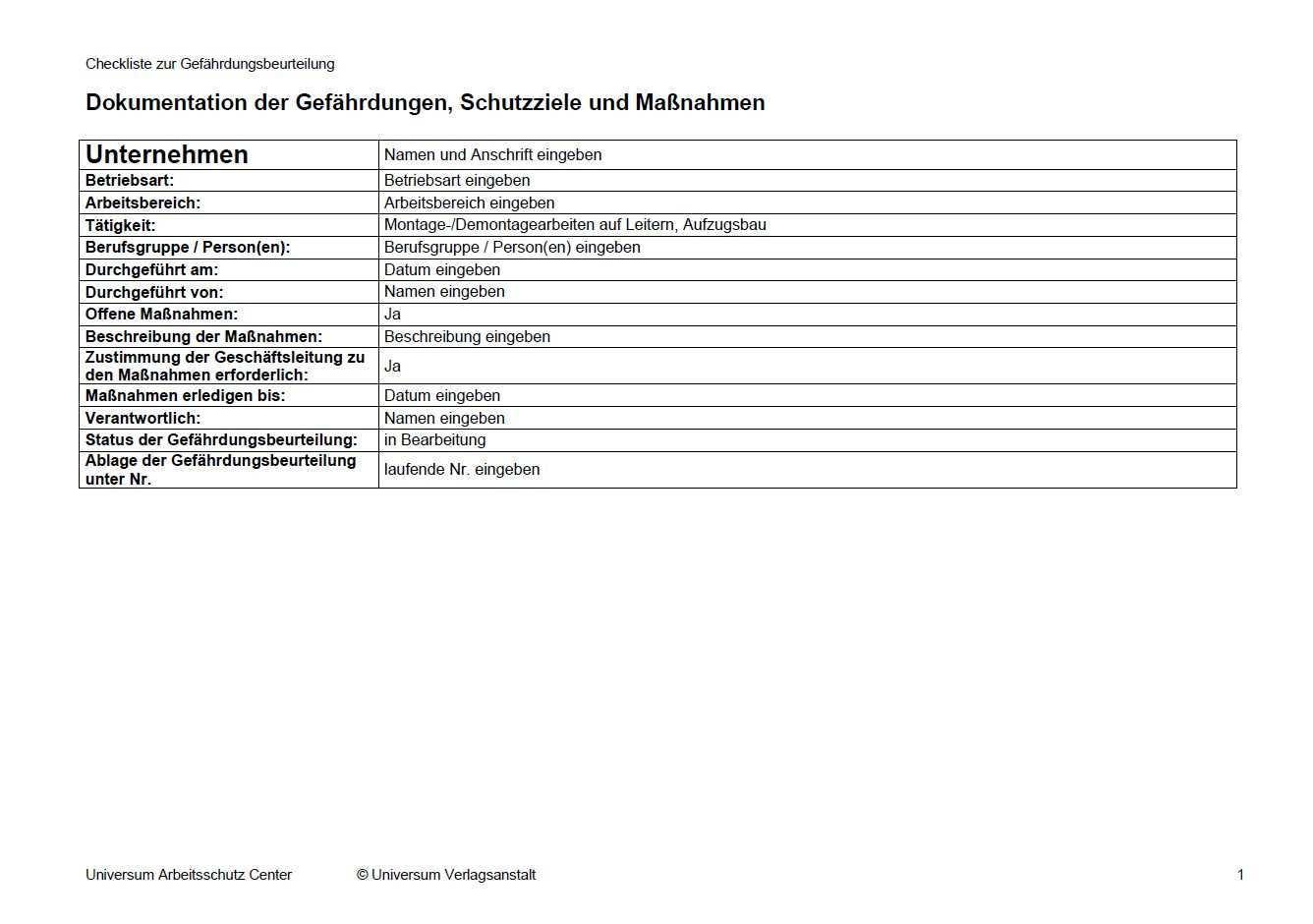 Gefahrdungsbeurteilung Arbeiten Auf Leitern Sofort Download