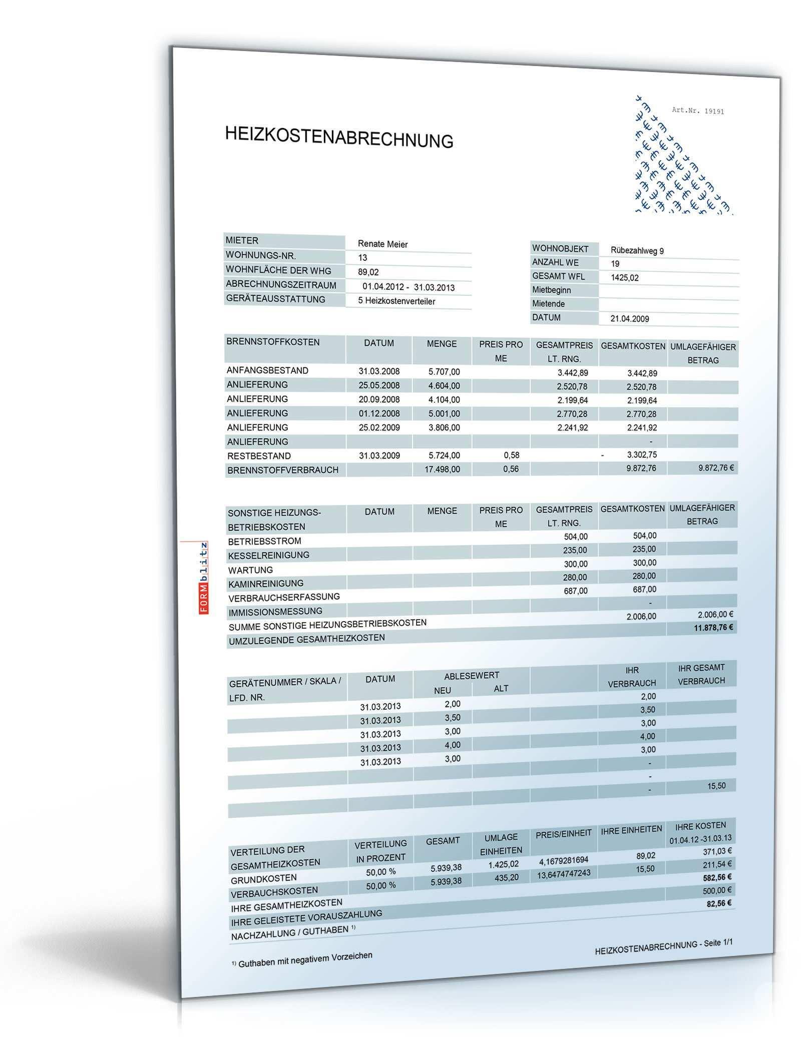Heizkostenabrechnung De Tabelle Download