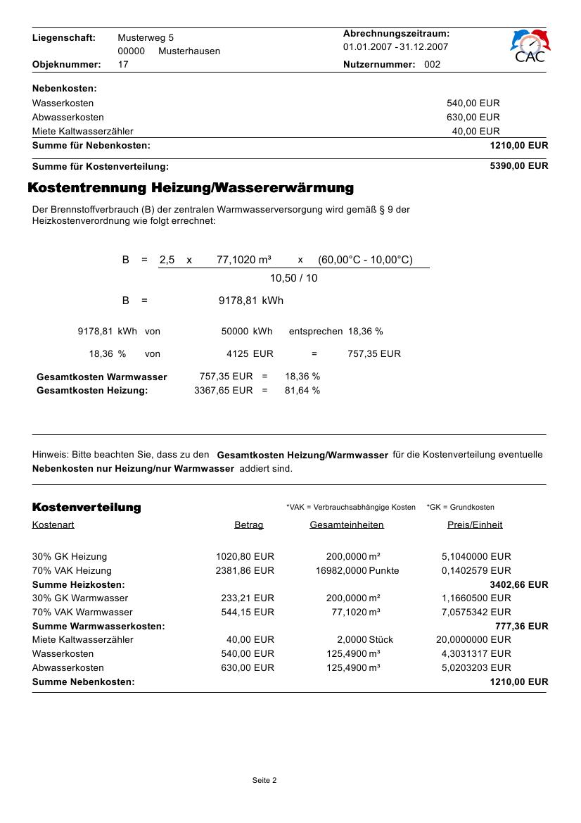 Management Und Logistik Muster Heizkostenabrechnung Mit Warmemengenzahler