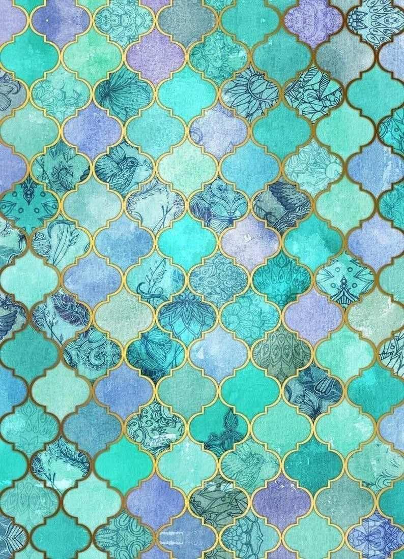 Mint Moroccan Tile Pattern By Micklyn Le Feuvre Marokkanische Fliese Bild Turkis Bilder