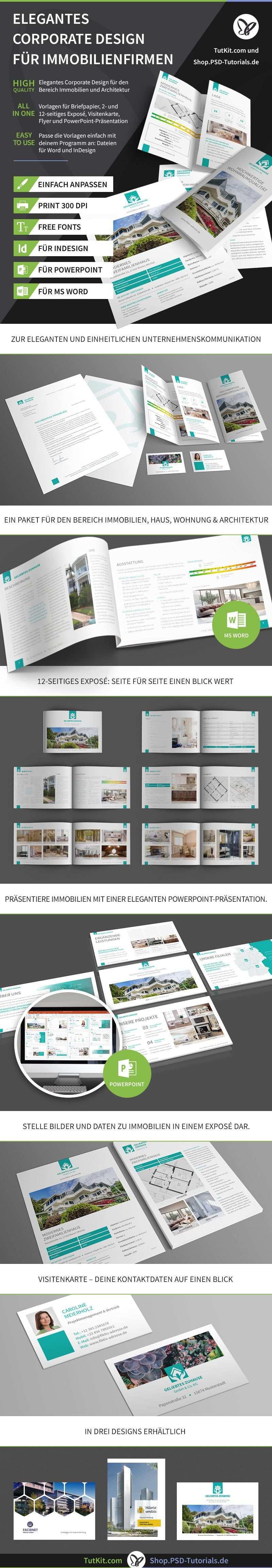 Elegantes Corporate Design Fur Immobilienfirmen Und Architekturburos Expose Immobilien Visitenkarten Corporate Design