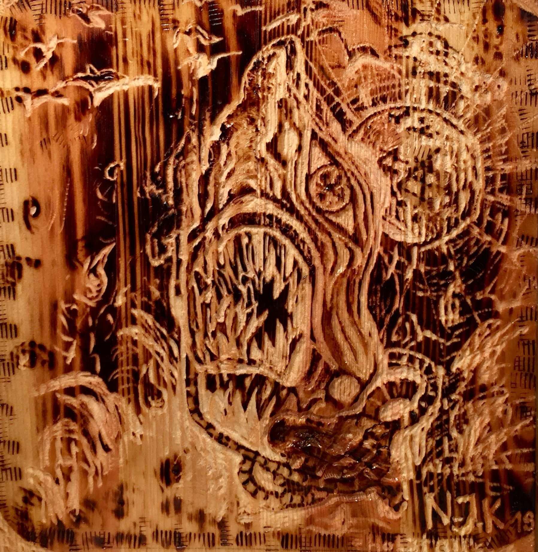 Hai Meer Flut Sonne Holzteufel By N J K Bild Holz 3d Brandmalerei 3d Zeichnen Malerei Bild Auf Holz
