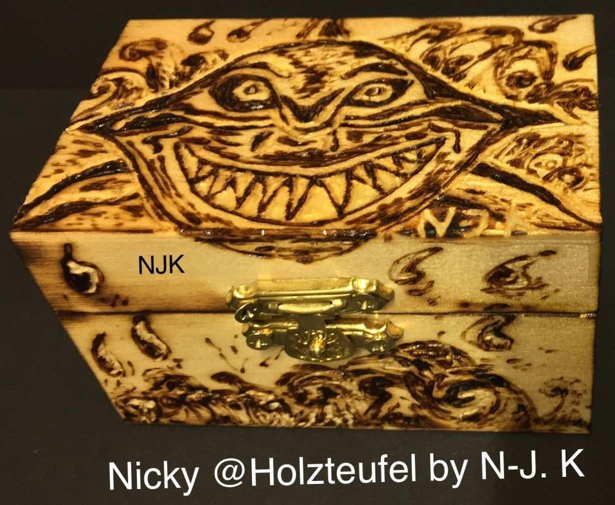 Holz Box Kiste Hai Lustig Fun 3d Brandmalerei Nicky Holzteufel By N J K Kunst Zeichnung Handwerk Brandmalerei Holzschnitzkunst Zeichnung