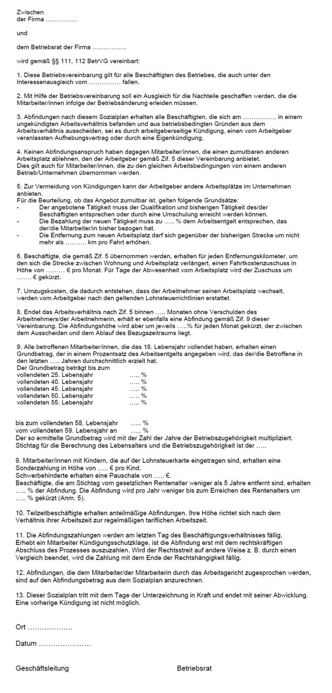 Muster Sozialplan Betriebsaenderung Team Dr Hoffmann Hanke