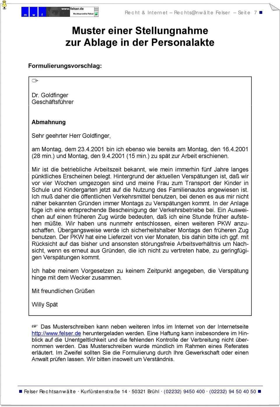 Checkliste Abmahnung Mit Muster Pdf Free Download