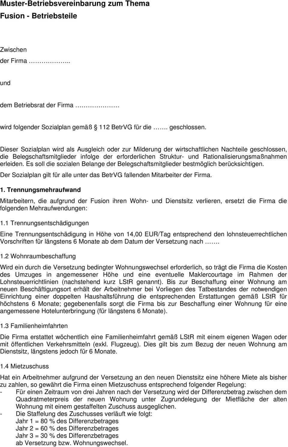 Muster Betriebsvereinbarung Zum Thema Fusion Betriebsteile Pdf Kostenfreier Download