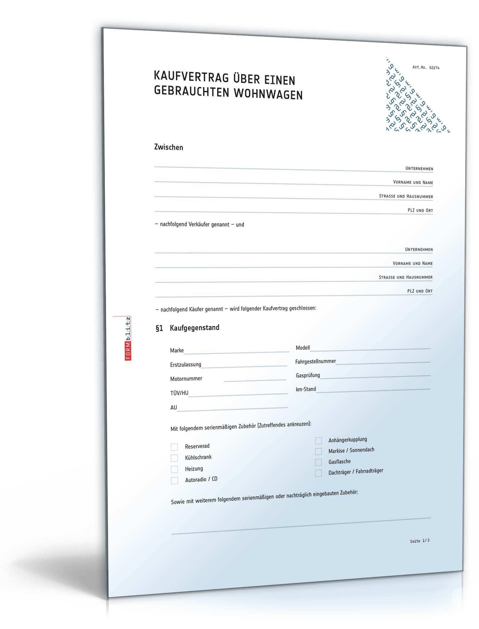 Kaufvertrag Wohnwagen Rechtssicheres Muster Zum Download