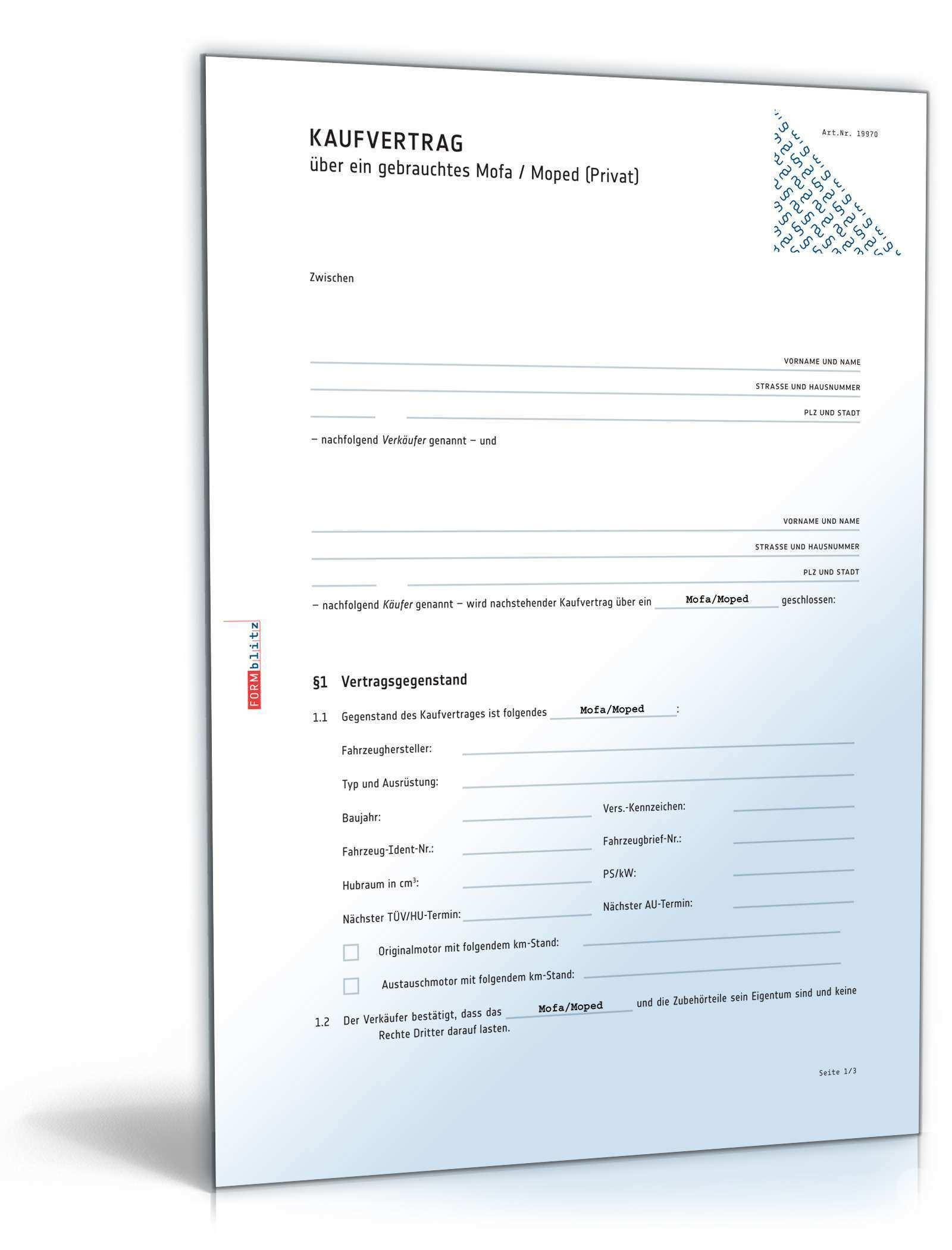 Kaufvertrag Gebrauchtes Mofa Rechtssicheres Muster Zum Download