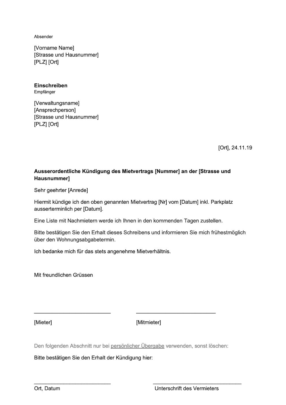 Wohnungskundigung Vorlage Schweiz Gratis Word Vorlage Vorla Ch