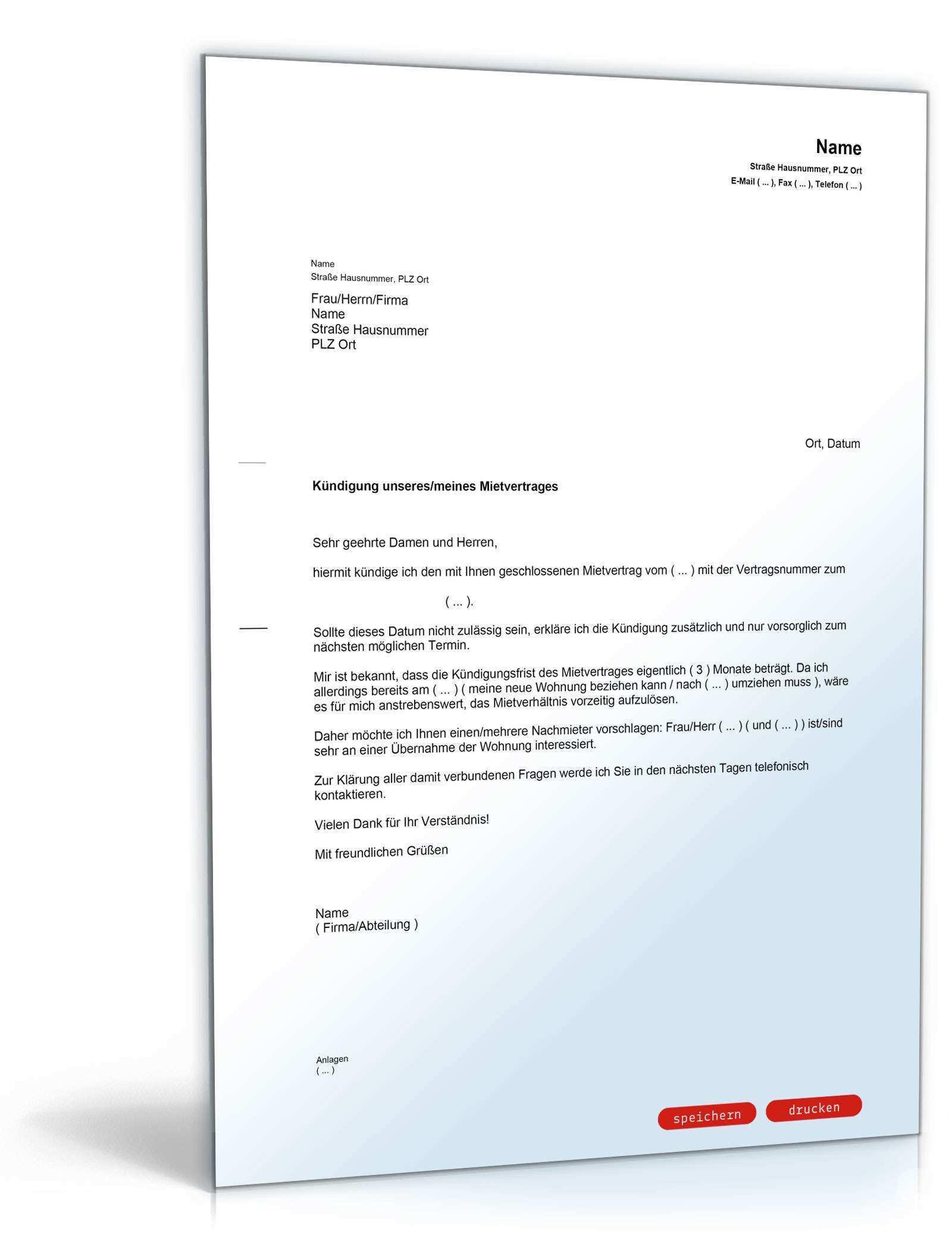 Kundigung Mietvertrag Mieter Nachmieter Muster Vorlage Zum Download