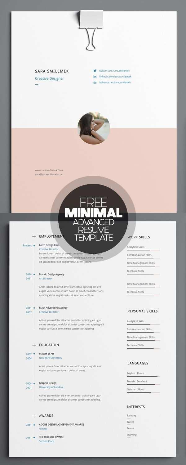 Free Minimal Advanced Resume Template Creative Cv Creative Resume Templates Cv Resume Template