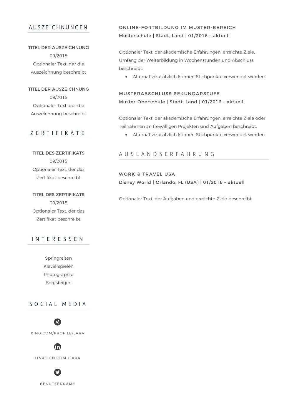 Premium Bewerbungsmuster 10 Lebenslaufdesigns De Lebenslauf Lebenslauf Muster Englischer Lebenslauf Vorlage