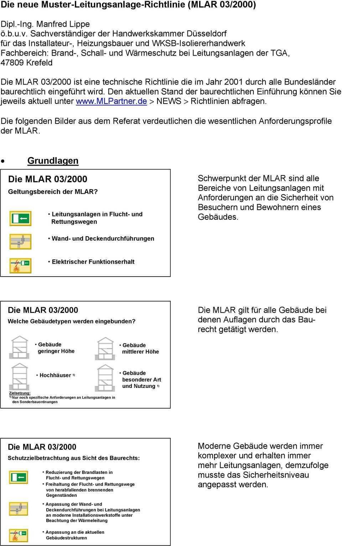 Die Neue Muster Leitungsanlage Richtlinie Mlar 03 2000 Pdf Free Download