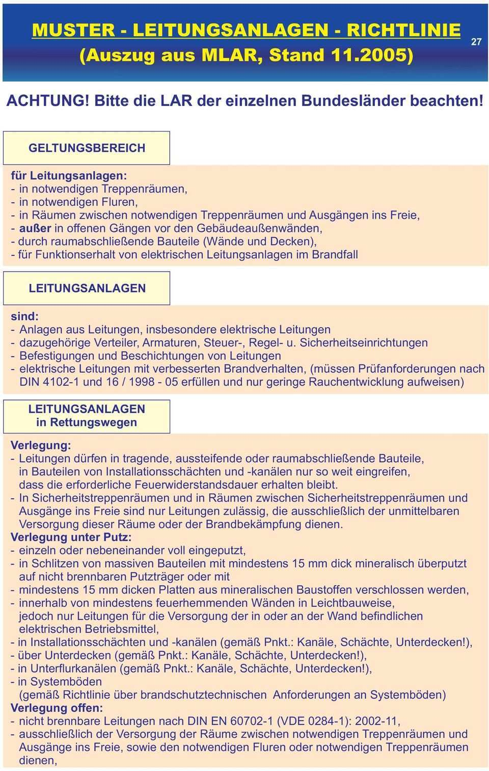 Muster Leitungsanlagen Richtlinie Auszug Aus Mlar Stand Pdf Free Download