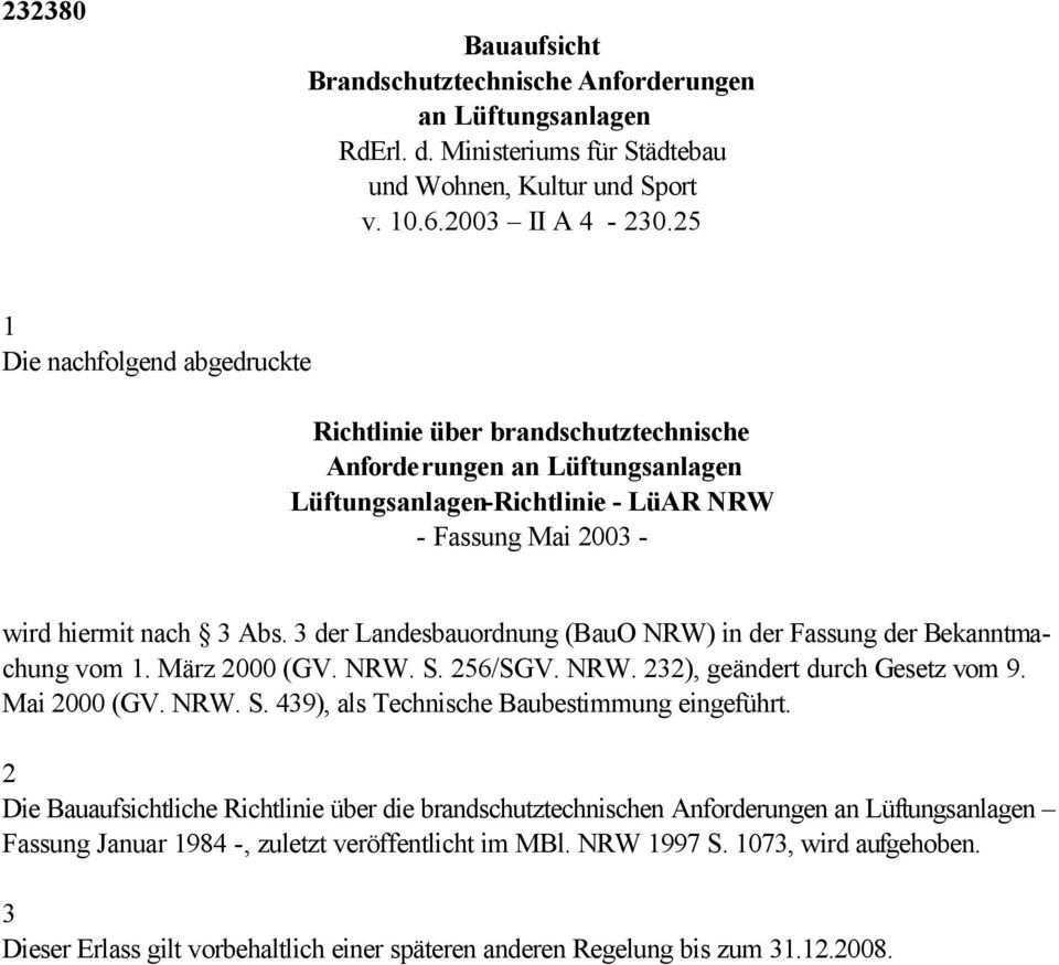 Richtlinie Uber Brandschutztechnische Anforderungen An Luftungsanlagen Luftungsanlagen Richtlinie Luar Nrw Fassung Mai Pdf Kostenfreier Download