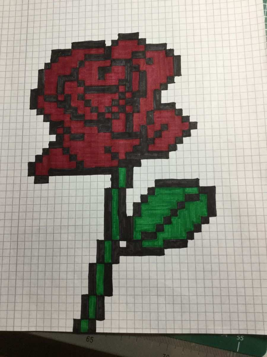Pixel Art 171 Rose Zeichnen Basteln Ideen Furs Zeichnen Zeichnungen