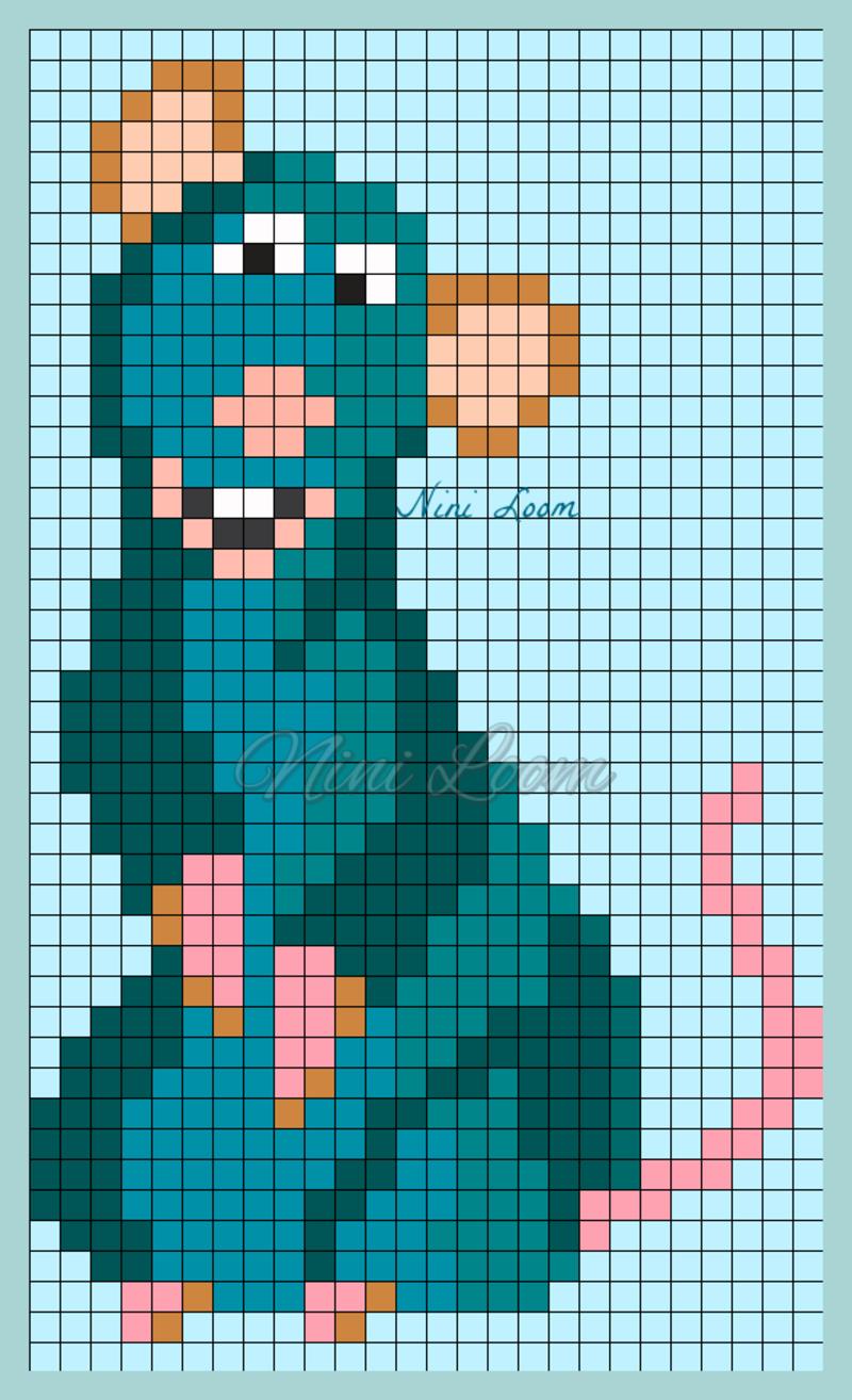 Personnage Disney Ratatouille Dessin Sur Petit Carreaux Dessin Petit Carreau Coloriage Pixel