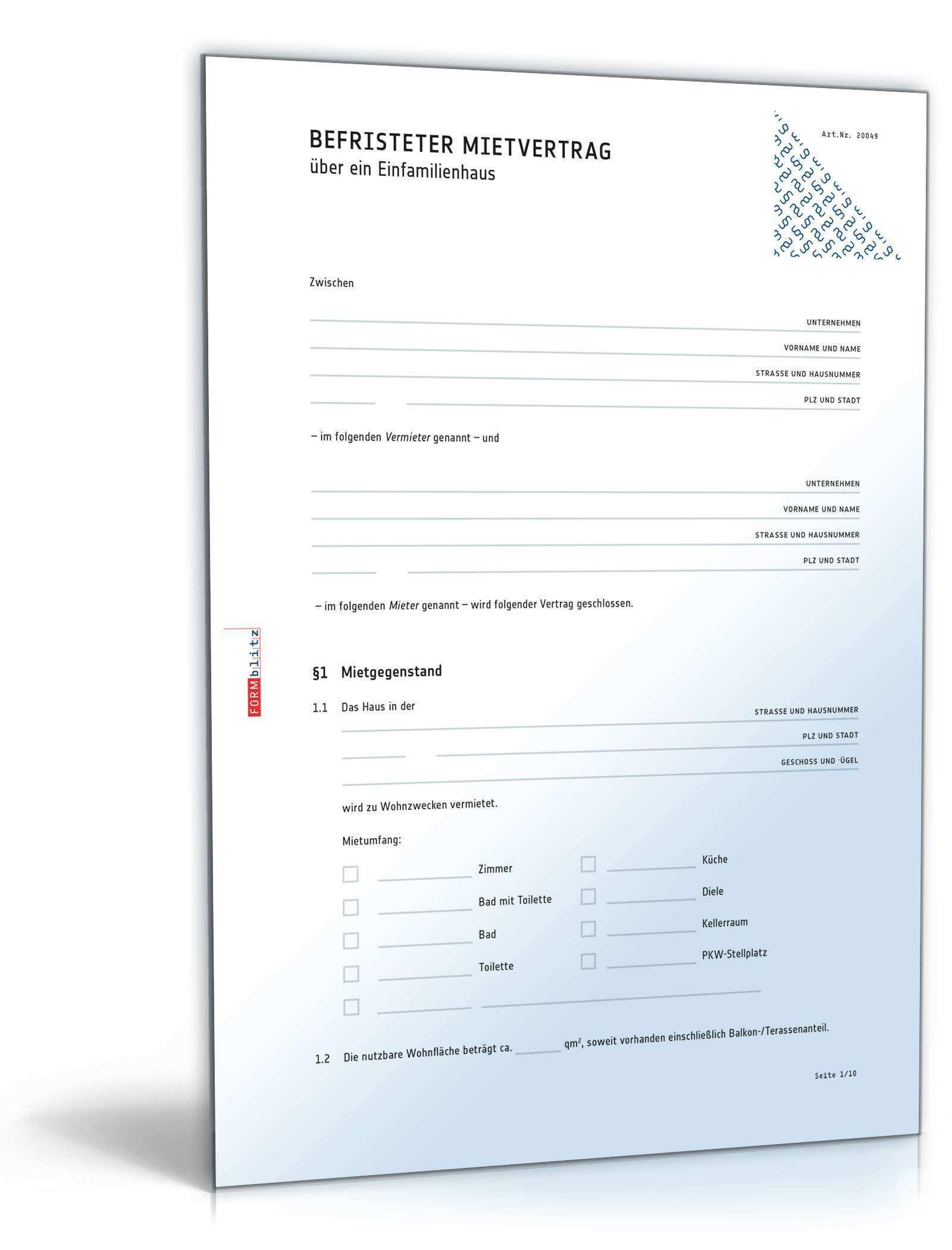 Befristeter Mietvertrag Einfamilienhaus Muster Zum Download