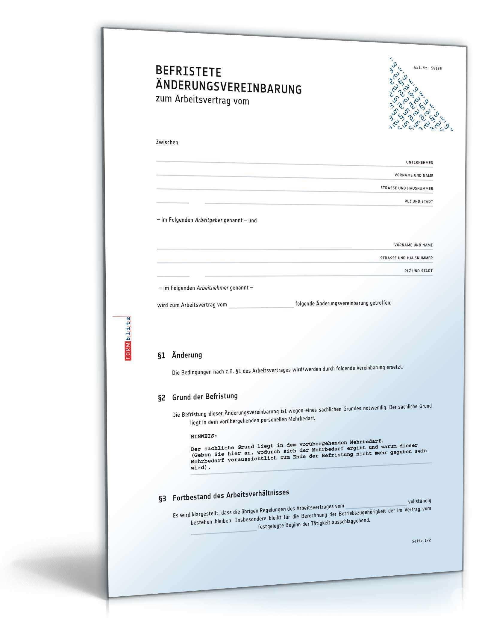 Befristete Anderungsvereinbarung Muster Zum Download
