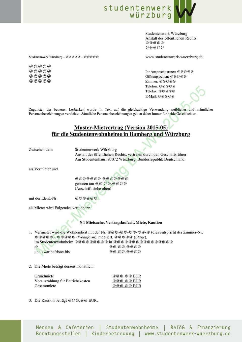 Muster Mietvertrag Ba Wu Pdf Free Download
