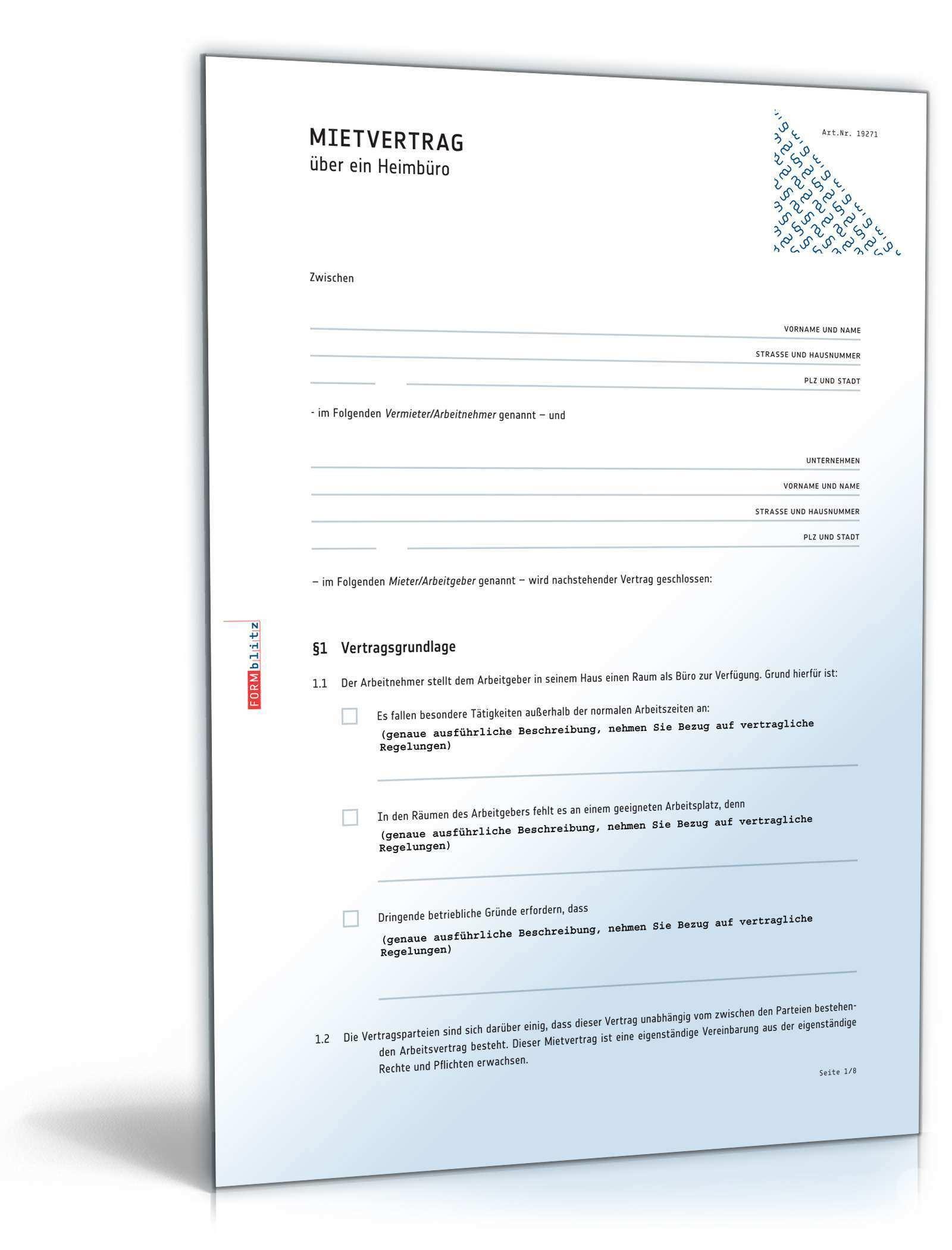 Heimburo Mietvertrag Rechtssicheres Muster Zum Download