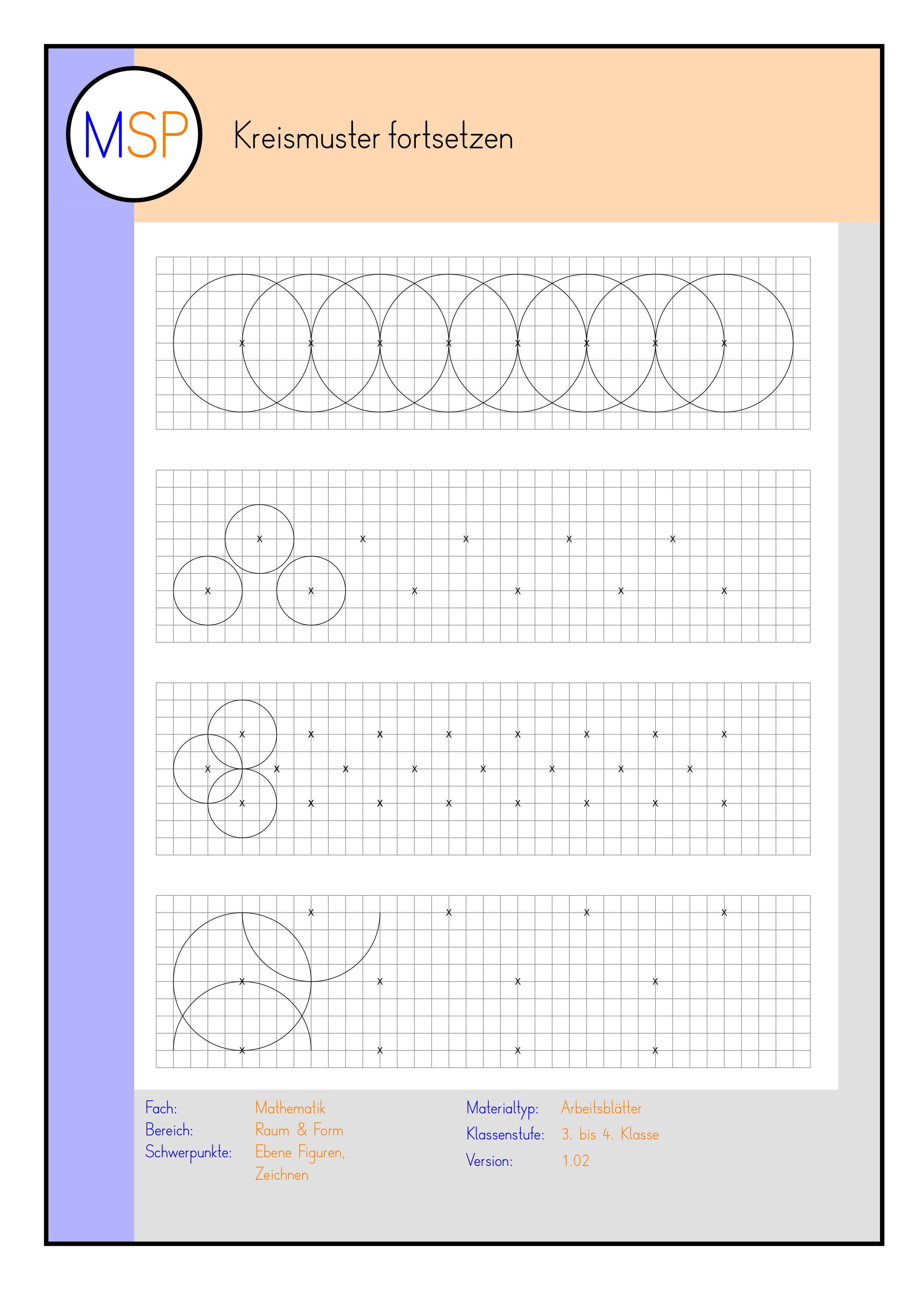 Arbeitsblatter Raum Form Kreismuster Fortsetzen Mit Dem Zirkel Unterrichtsmaterial Im Fach Mathematik Kreismuster Zirkel Mathe Unterrichten