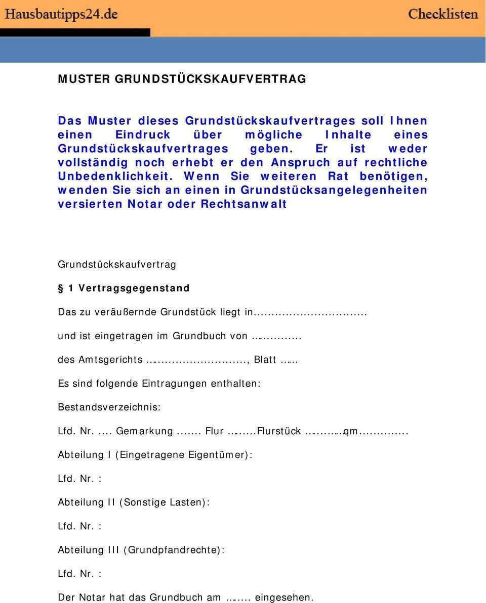 Muster Grundstuckskaufvertrag Pdf Kostenfreier Download