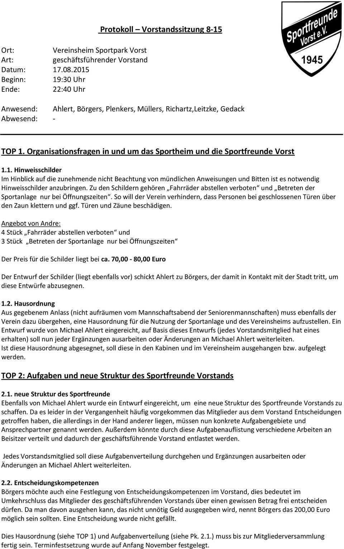 Protokoll Vorstandssitzung Top 1 Organisationsfragen In Und Um Das Sportheim Und Die Sportfreunde Vorst Pdf Kostenfreier Download