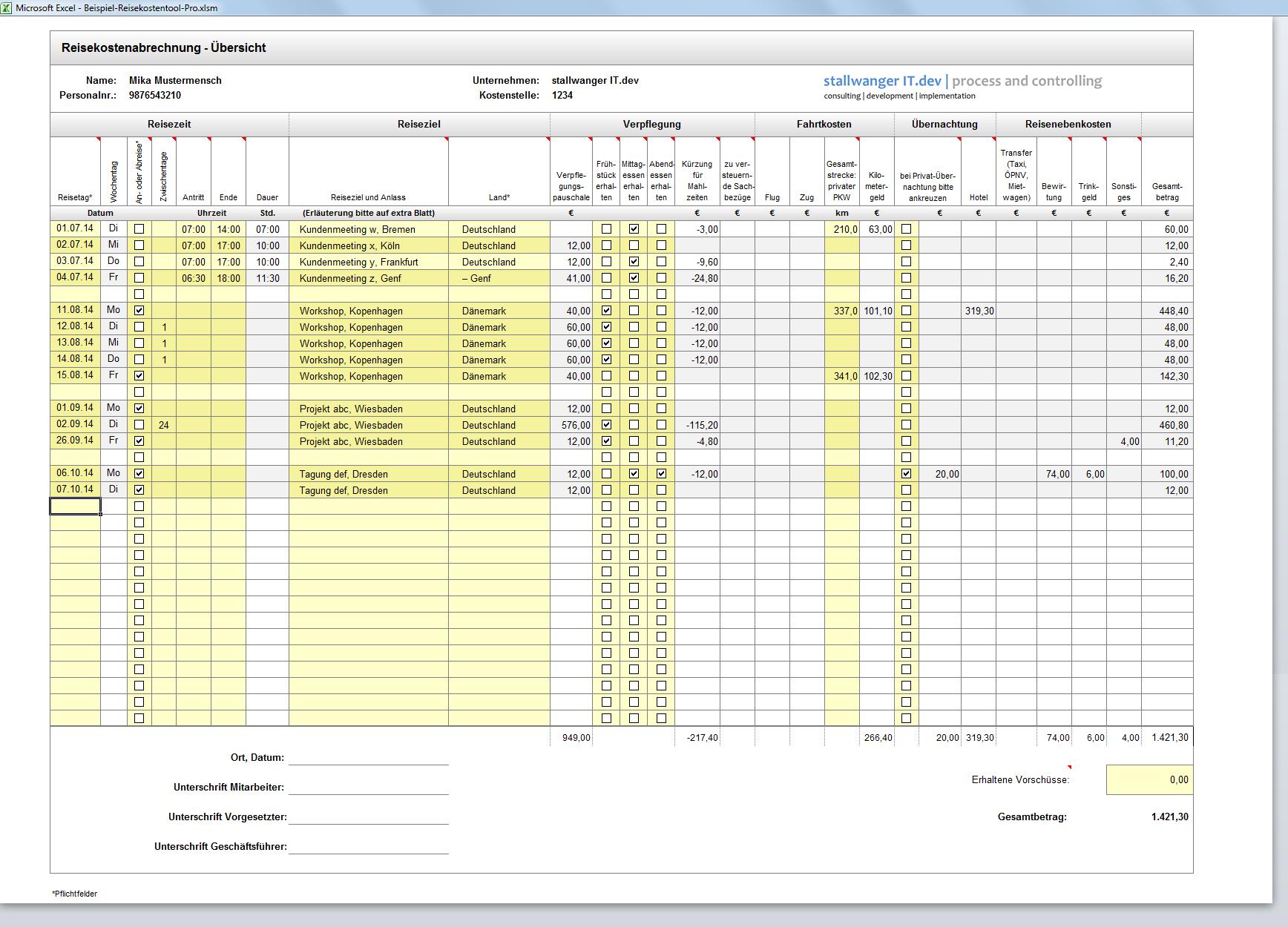 Excel Reisekosten 2016 Vorlage Stallwanger It Dev
