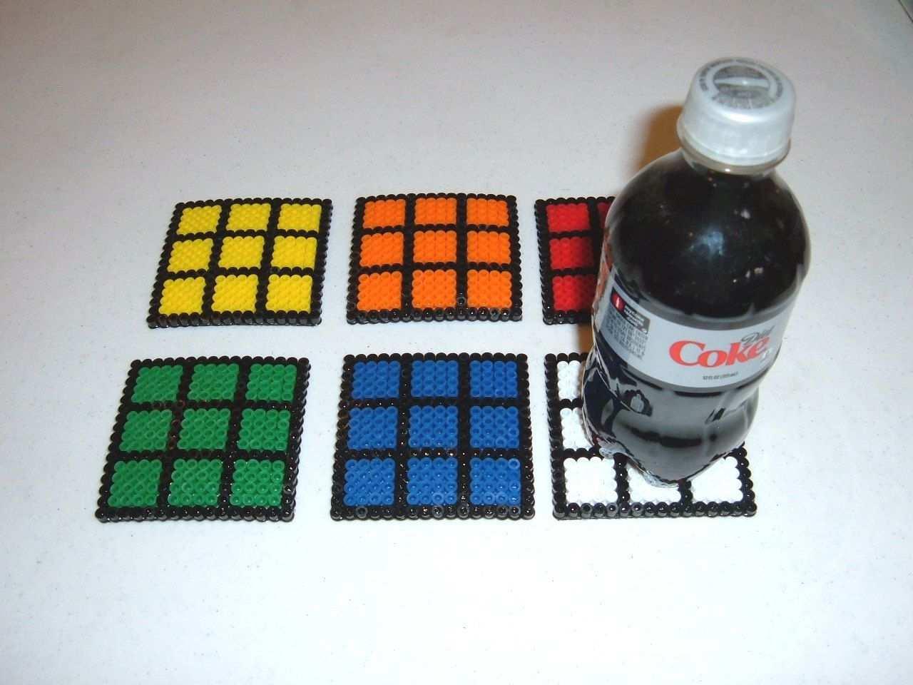 Perler Bead Coasters Rubik S Cube Perler Beads Perler Beads Designs Pearler Bead Patterns