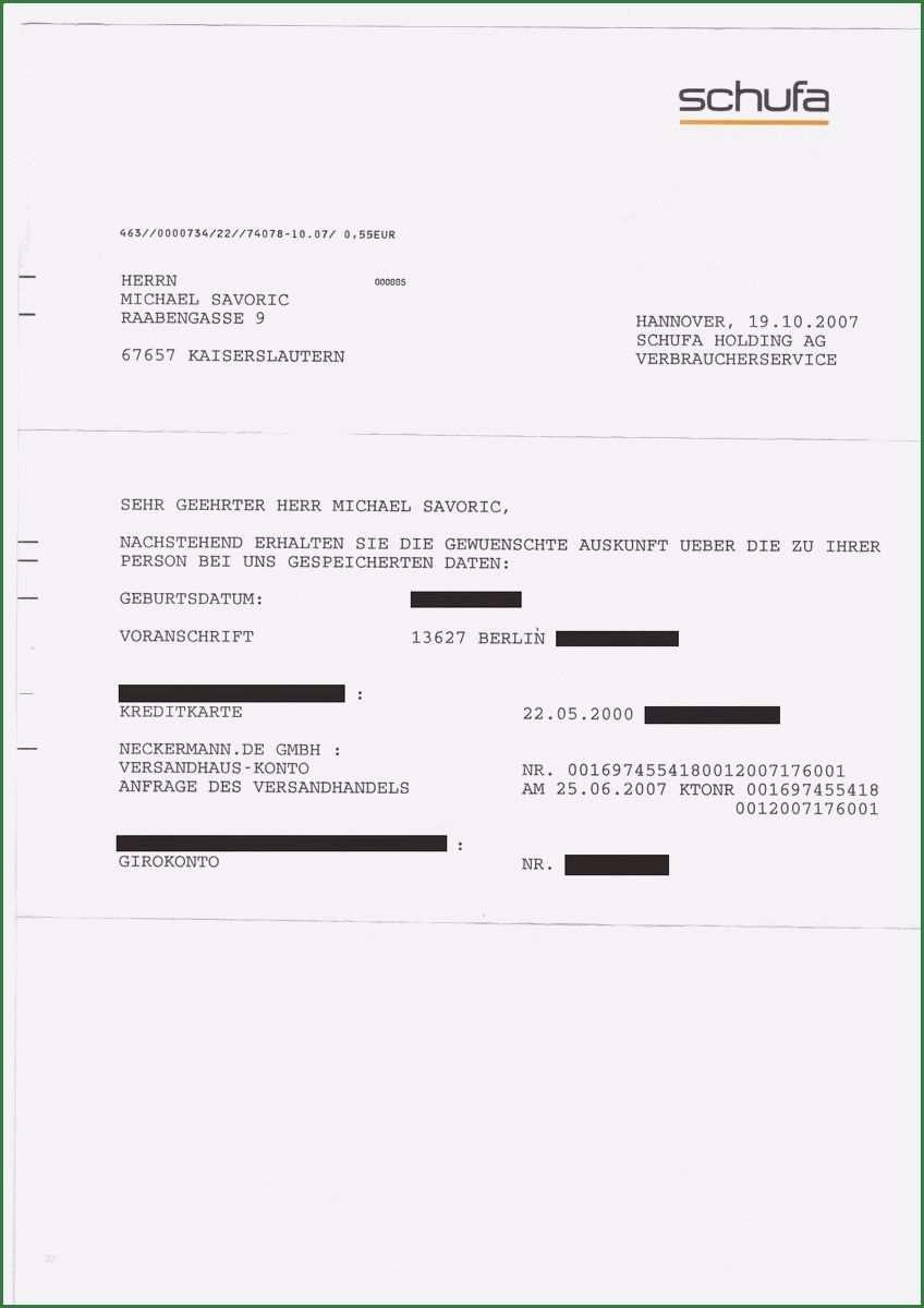 Hervorragend Schufa Auskunft Vorlage Fur 2020 Schufa Auskunft Rechnungsvorlage Lebenslauf