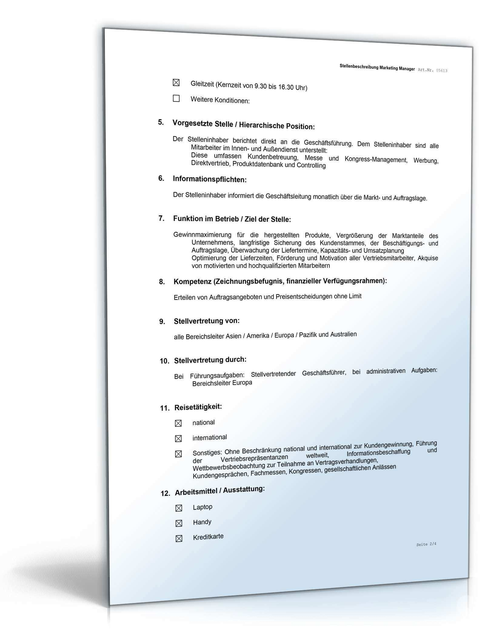 Stellenprofil Marketing Manager Muster Zum Download