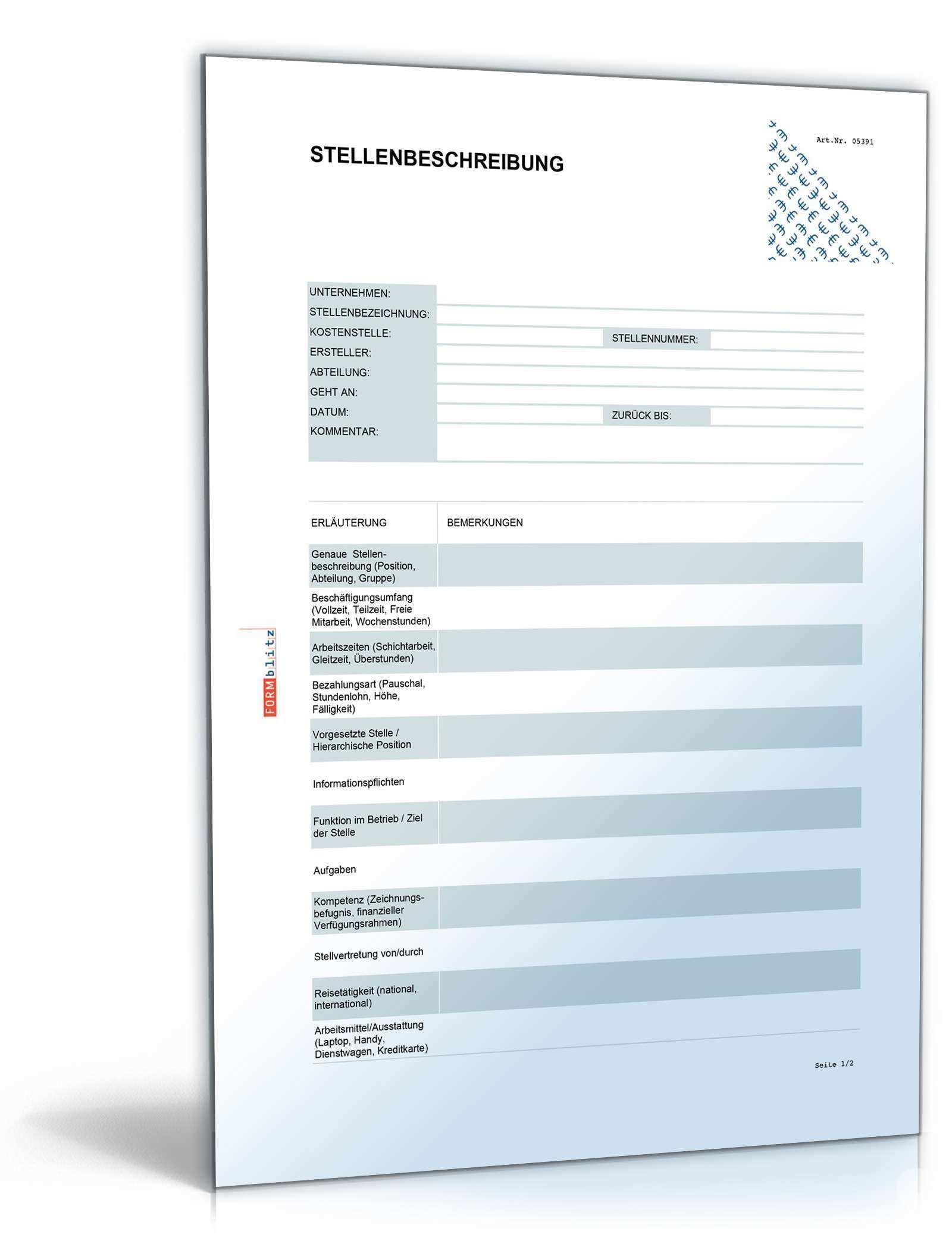 Stellenbeschreibung Blanko Formular Vorlage Zum Download