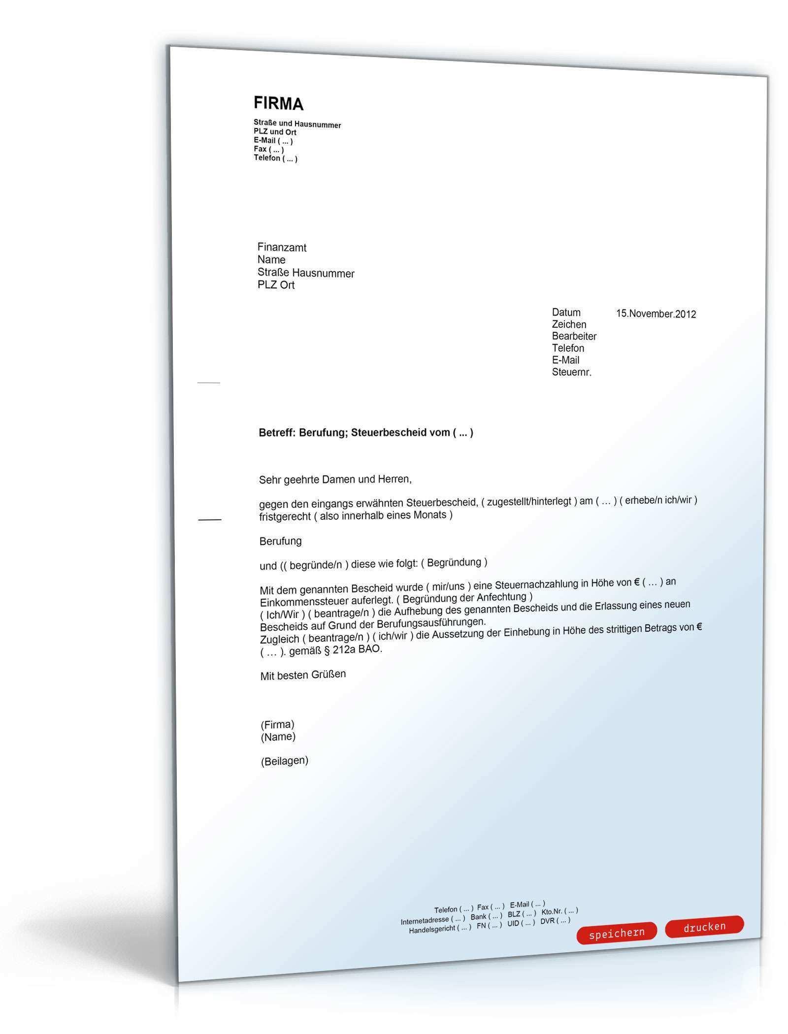 Berufung Gegen Den Steuerbescheid Mit Antrag Auf Aussetzung Der Einhebung Muster Vorlage Zum Download