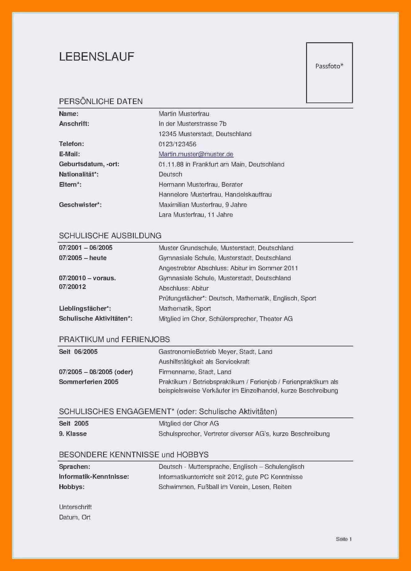 Frisch Lebenslauf Informatiker Muster Briefprobe Briefformat Briefvorlage Person Personalized Items