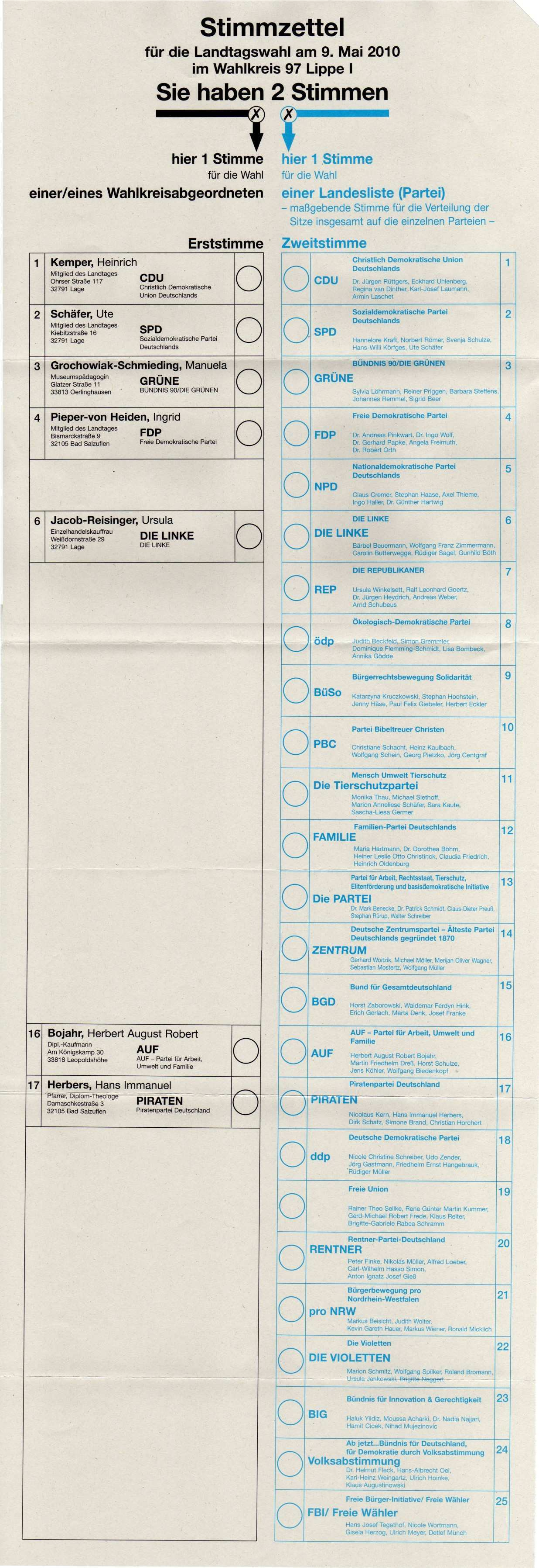 Muster Stimmzettel Zur Landtagswahl 2010 In Nrw Update Wahlumfrage De