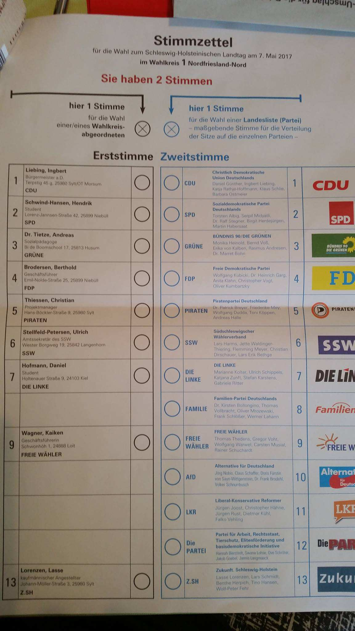 Musterstimmzettel Zur Landtagswahl 2017 In Schleswig Holstein Wahlumfrage De