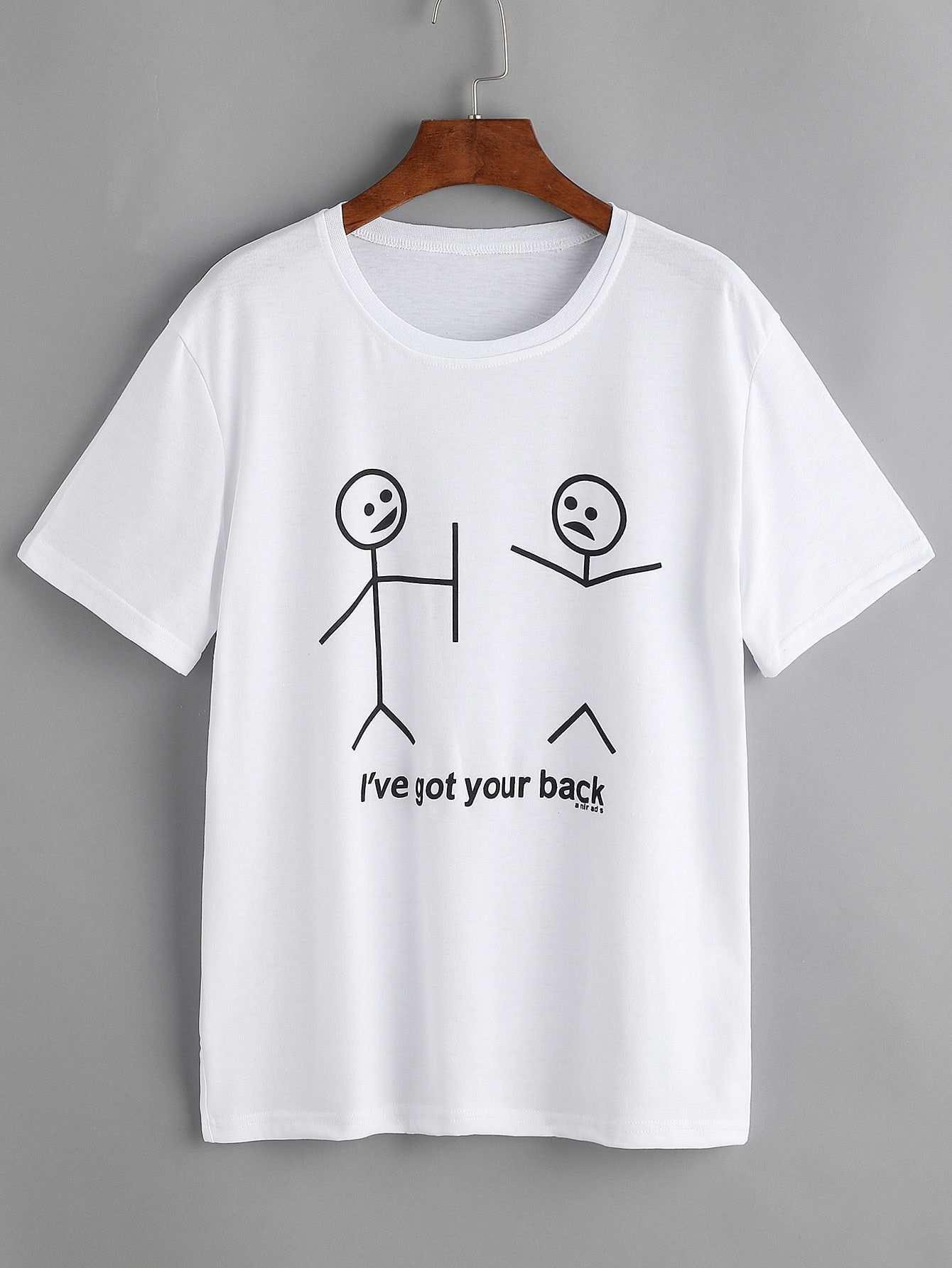 T Shirt Mit Zeichnung Und Beschriftung Muster German Shein Sheinside Graphicprints T Shirt Mit Zeichnung Und Besc Printed Tees Graphic Shirts Printed Shirts