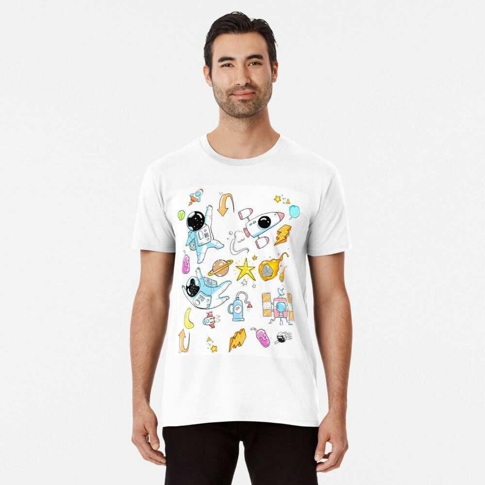 Astronauten Muster Premium T Shirt Von Sennoxdesign In 2020 Astronauten T Shirt Shirts