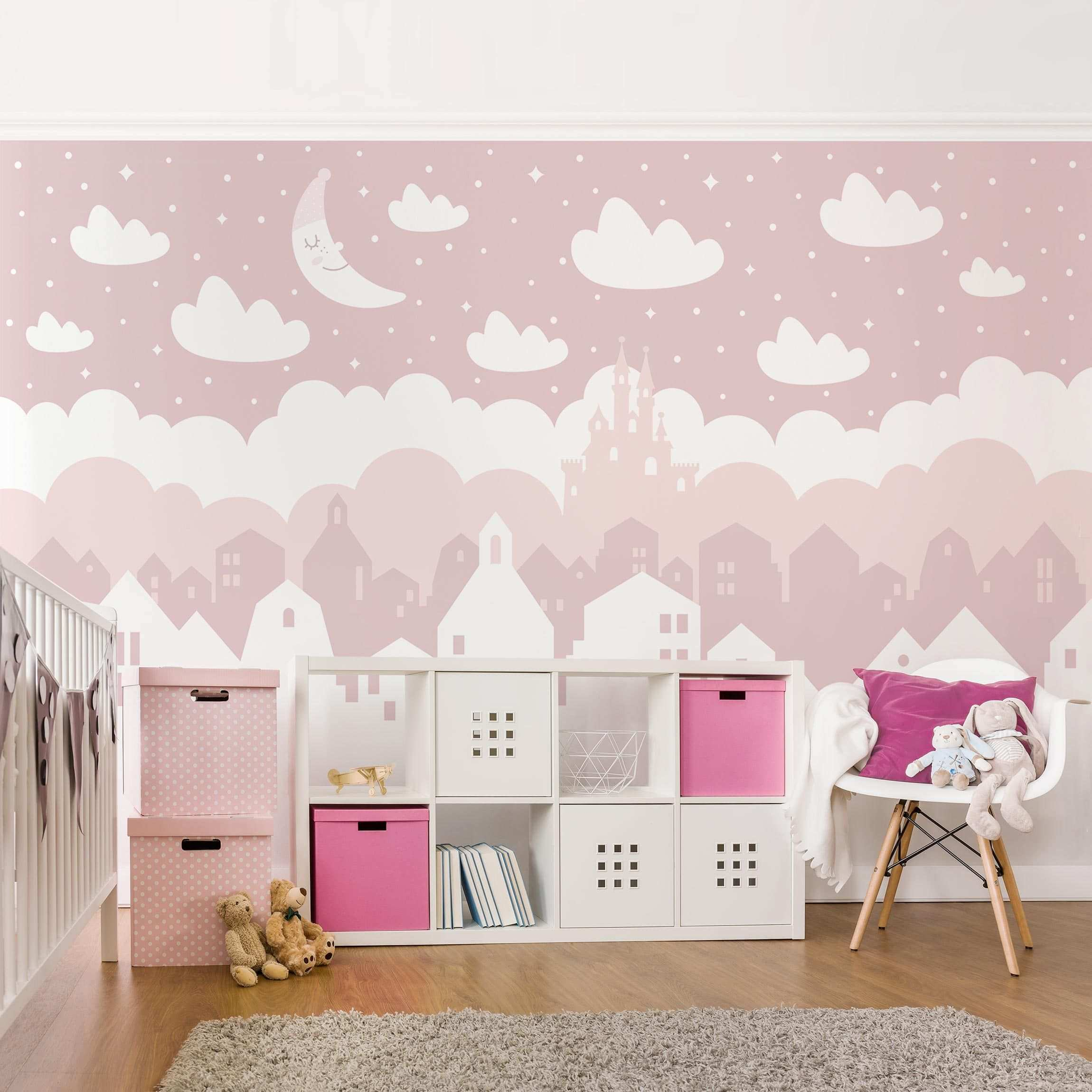 Vliestapete Kinderzimmer Sternenhimmel Mit Hausern Und Mond In Rosa Fototapete Breit Vliestapete Kinderzimmer Kinder Zimmer Wandgestaltung Madchenzimmer