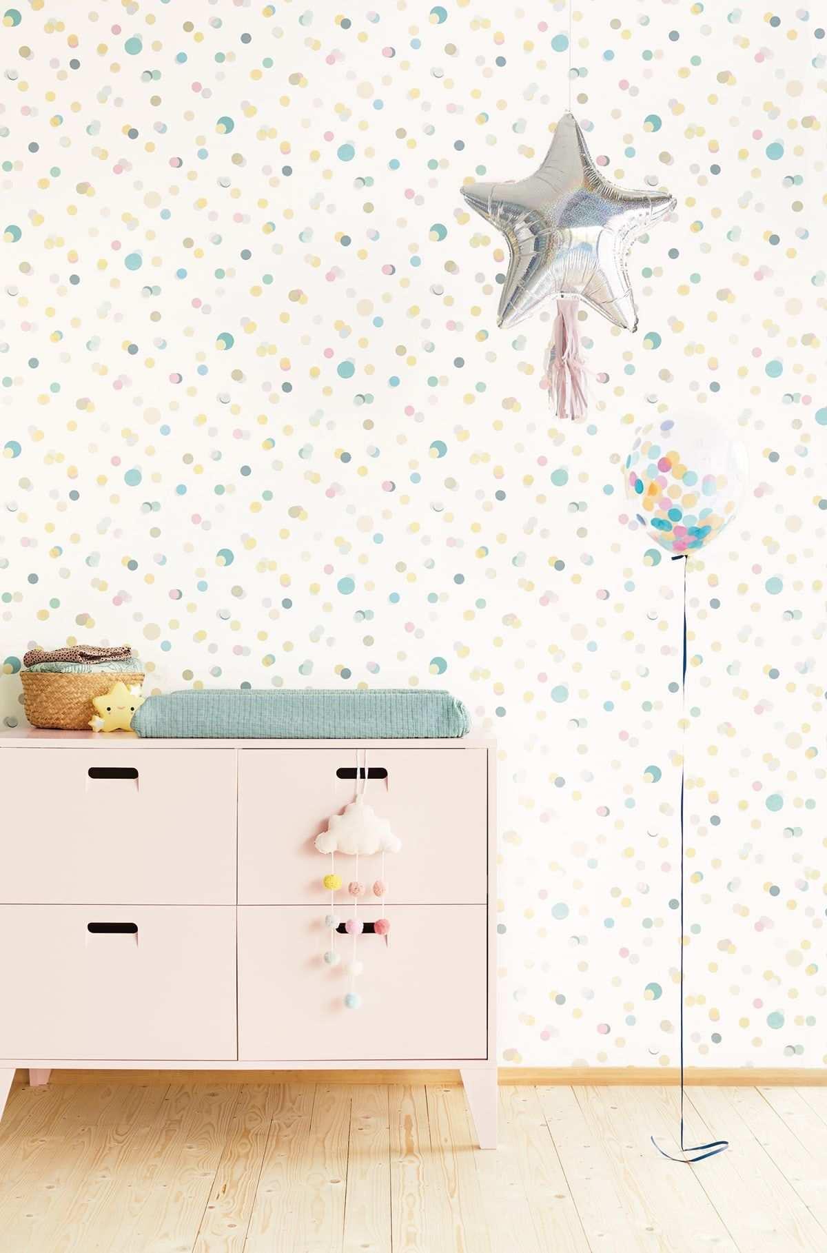 Tapete Confetti Blau Von Eijffinger Fur Das Bunte Kinderzimmer Kinderzimmer Muster Kinder Tapete Tapeten