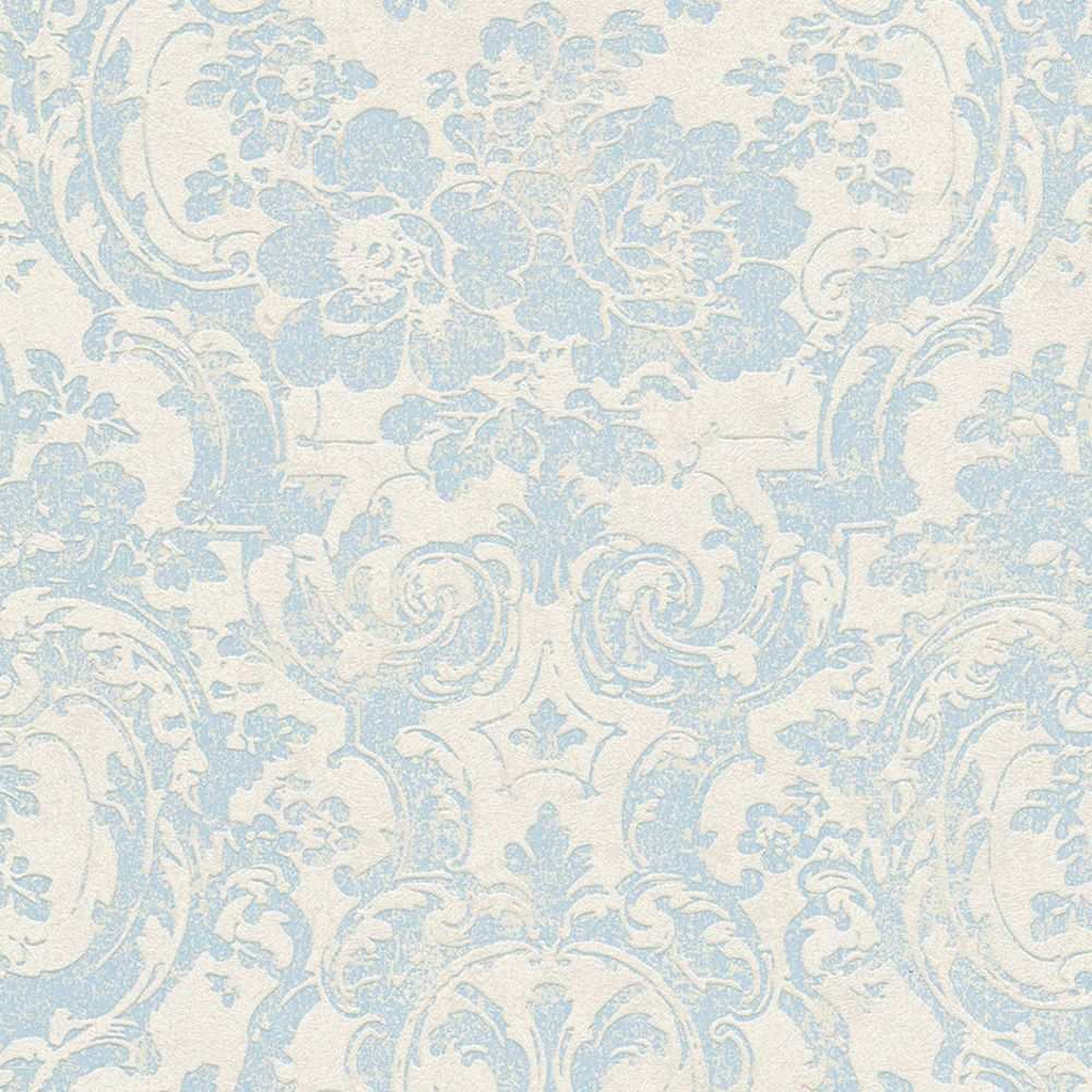 Barock Vliestapete Moments Grau Blau Tapete Blumen Ornamente Blaue Mustertapete Tapeten Barock Tapete Ornament Tapete