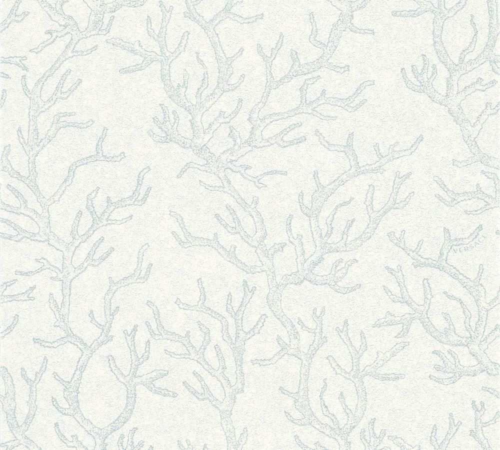 Tapete Versace Home Korallen Blau Weiss Metallic 34497 2 Tapeten Blau Und Weiss Versace
