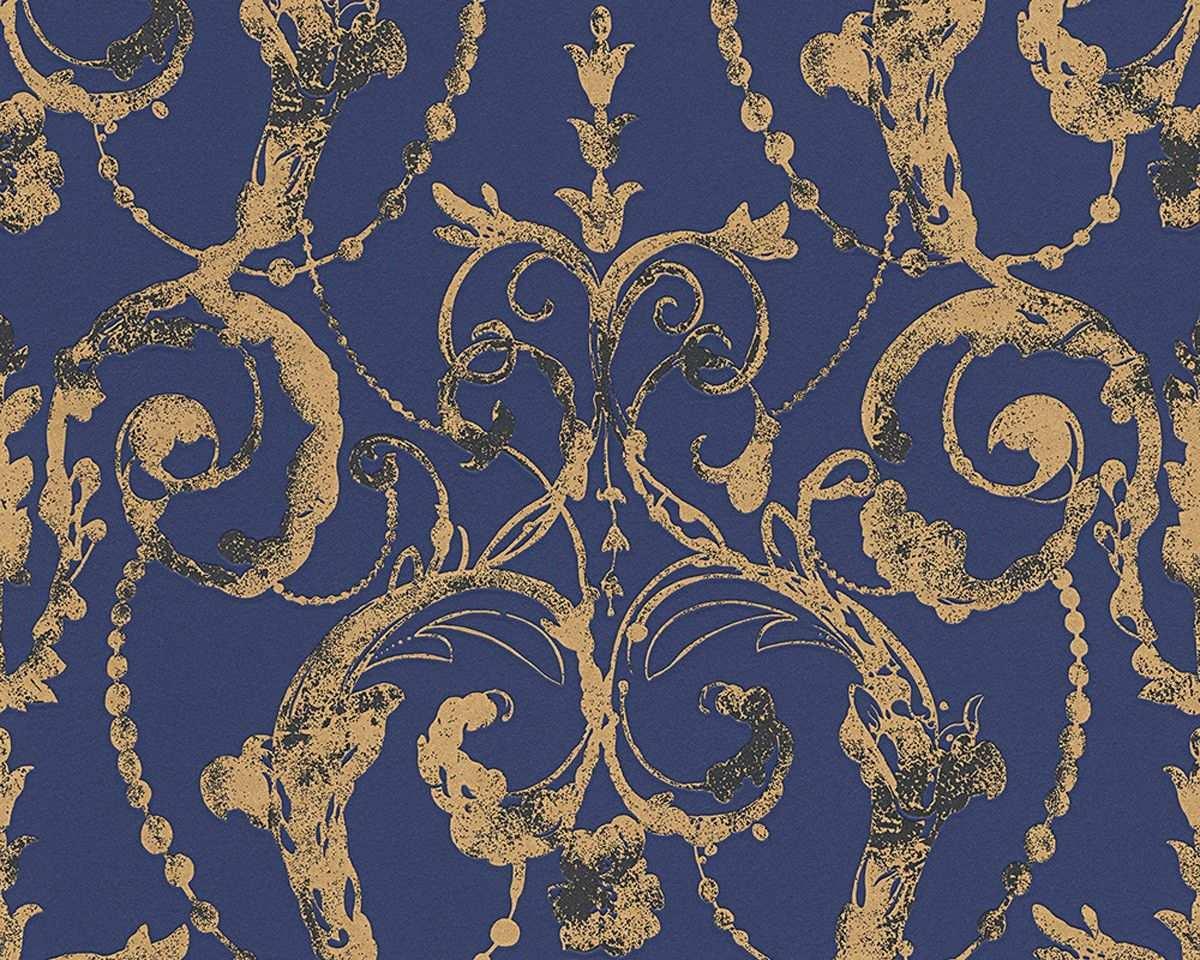 Vliestapete Barock Blau Gold Tapete Livingwalls Flock 4 95691 4 956914 Tapeten Lila Tapeten Wohnzimmerfarben